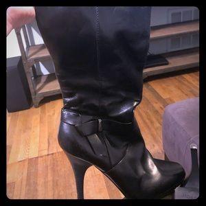 Black Leather Worthington Heeled Boots